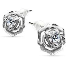 Ohrstecker Rose mit Kristall 925 Silber Damen Ohrringe Frauen Geschenk Mädchen
