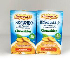 Emergen-C Immune Plus Chewables, Orange Blast, 14 Count (Pack of 2) EXP 08/21