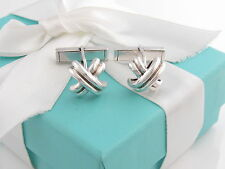 Tiffany & Co Silver Signature Cuff Link Cufflinks Links Packaging Box Pouch