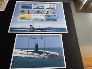 ST KITTS 2001 SG 643-648 AND MS649 CENT OF ROYAL NAVY SUBMARINE MNH