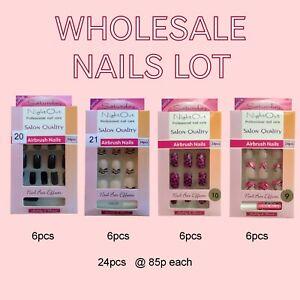 85p Wholesale Lot 2 Dozen airbrush false nails new glue on fake nails black
