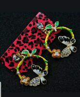 Betsey Johnson Rhinestone Colorful Butterfly Drop Earrings Women Fashion Jewelry