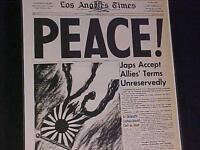 VINTAGE NEWSPAPER HEADLINE~WORLD WAR 2 PEACE Japan Army Surrender WWII OVER 1945