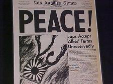 VINTAGE NEWSPAPER HEADLINE ~WORLD WAR TWO ENDS OVER PEACE Japan Surrenders WWII~