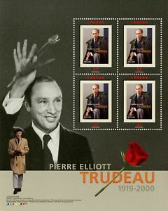 Canada Stamp #1909a - Portrait of Trudeau (2001) 4 x 47¢
