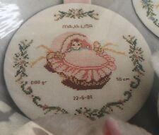 Baby Girl Wall Hanging Name Date Birth Danish Art Needlework Kit Copenhagen