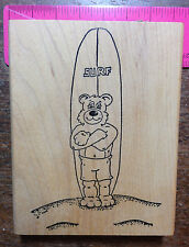 BEAR WITH SURFBOARD rubber stamp.by Connor Collectibles
