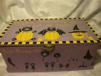 Vintage Decorative Purple Wooden Box Pumpkin Decorating Kit Halloween Decor  399