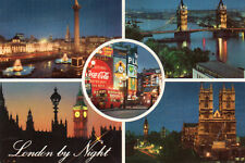 Postcard  London by night multiviews unposted  Hinde 3L101