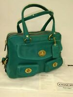 COACH Bleecker Street Limited Edition Peyton Teal Leather Legacy Tote Travel Bag