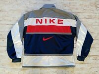RARE VTG 90s Nike Men's Full Zip Large Sewn Spellout Logo Tennis Track Jacket M