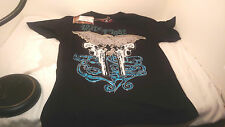 NWT Black Tool Jeans Beaded Goth Hip T-Shirt Nite Fight Size XL Colt 45