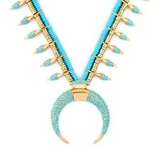 TURQUOISE BLUE GREEN SQUASH BLOSSOM HORN MOON Gold Tribal Statement Necklace