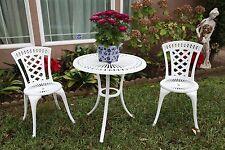 "Outdoor Cast Aluminum Patio Furniture 3 Piece Bistro Set D with 27.5"" Large-tabl"