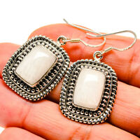 "White Scolecite 925 Sterling Silver Earrings 1 5/8"" Ana Co Jewelry E411606F"