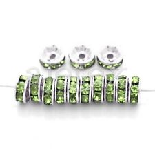 20pcs 5/6/8/10/12mm Round Crystal European Beads Silver Plated Rhinestone IF
