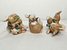Fitz & Floyd Woodland Spring Tumbling Bunny Rabbit Trio Figurines Easter Spring
