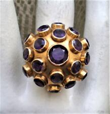 Designer H. Stern LARGE 18K 750 Yellow Gold Sputnik Amethyst Cluster Ring 8.3 g.