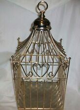 """Vintage Gold Metal Bird Cage 16"""" Hearts Hanging Ring Garden Home Décor"""