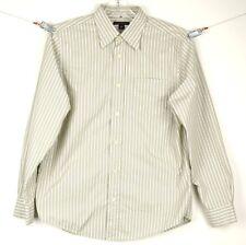 BANANA REPUBLIC Shirt Mens Medium Long Sleeve B/U Tan/Green Striped Cotton/Nylon