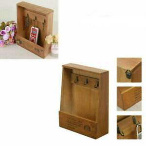 Retro Wall Mounted Key Holder House Hooks Box Wooden Case Storage Cabinet Ra_kz