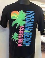 Vintage 90's Virginia Beach Virginia Souvenir Neon Palm Sun Black T-Shirt Beachy
