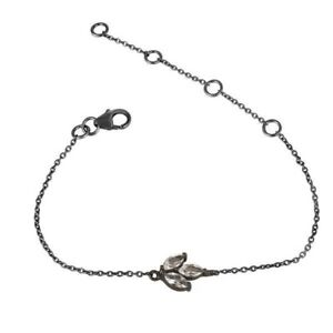 Black Oxidized 925 Sterling Silver Crystal Quartz Gemstone Chain Bracelet