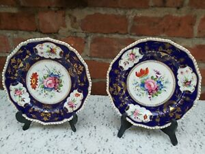 2 x Antique Bloor Royal Crown Derby hand painted floral plates 8.80 inches