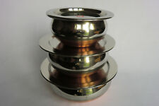 3 Piece Stainless steel / Copper Based Serving /Handi  dishes, with lids Plain