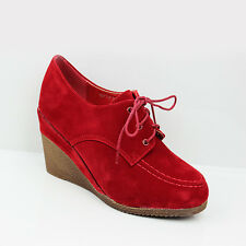 WOMENS MID HIGH WEDGE HEEL LACE UP MOCCASINS LOAFERS LADIES SHOES NEW SIZE 3-8