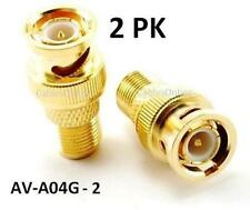 2pk BNC Plug to F-Type Jack Gold Coaxial Video Adapter
