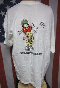 ROCK BOTTOM GOLF online retailer tee XL caveman mascot T shirt bedrock