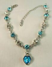 Aqua Heart Charm Silver Tone Adjustable Clear & Aqua Rhinestone Chain Bracelet