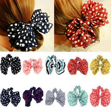5pcs Lot Satin Ribbon Bow Hair Band Hair Rope Scrunchie Ponytail Holder MIX