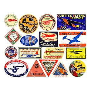 Airline Luggage Labels & Baggage Tags, Airmail Labels, 1 Sheet, REPRODUCTIONS