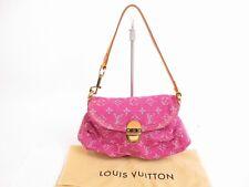 Authentic LOUIS VUITTON Monogram Denim Pink Shoulder Bag Pouch Mini Pleaty #4825