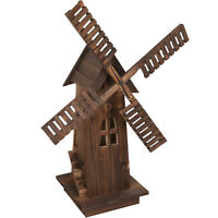 Wooden Windmil Lawn Decor Dutch Brown Garden Patio Decorative Yard Outdoor