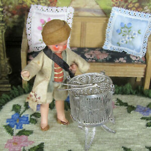 Antique Dollhouse SILVER FILIGREE DRUM Miniature Musical Instrument Vtg Doll Toy