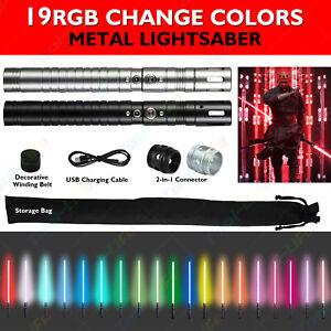 Metal Hilt Lightsaber RGB 19 Colors Combat Grade Sound LED Rechargeable 100cm UK