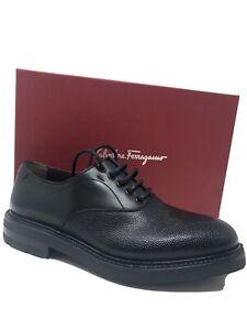 New Salvatore Ferragamo Tramezza Mens Black Shoes Tanger Size 10 US 9 UK 43 EU