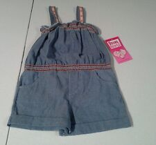 Young hearts girls 4T sleeveless romper NWT  100% cotton blue shorts
