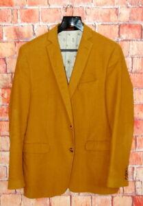 Mens 44 R ETRO Mustard Yellow Velvet Slim Fit Blazer Made Italy