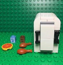 Lego New MOC Custom Old Style Retro Fridge / Freezer Kitchen Interior With Foods