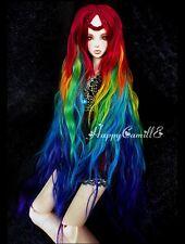 BJD muñeca peluca de pelo 7-8 pulgadas 18-20 cm Mix Rojo Verde Amarillo Azul 1/4 MSD DOD STUI