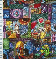 FQ LICENSED DISNEY BEAUTY AND THE BEAST BELLE STAINED GLASS COTTON FABRIC
