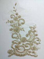 Large Gold Corded Embroidery Applique Motif Lace Wedding Sewing Trim EB0427