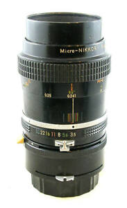 Vintage Nikon Micro-NIKKOR 55mm 1:3.5 Lens w/PK-3 1:1 Ring