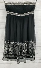 Maggy London 100% Silk Dress Sz 12 Black Silver Sequin Strapless Sheer Ruched