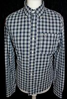 ABERCROMBIE & FITCH Muscle Mens Blue Check Long Sleeved Shirt Size Large