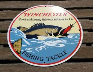 VINTAGE WINCHESTER PORCELAIN FISHING TACKLE RODS & REELS LURE SERVICE SALES SIGN
